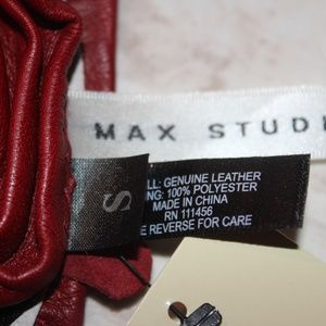 Max Studio Accessories - MAX STUDIOS Red All-Leather Gloves-SZ. SMALL-NWT